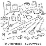 draw cleaning supplies set | Shutterstock .eps vector #628099898