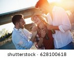 happy people drinking and... | Shutterstock . vector #628100618