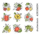 set of illustrations of fruits. ... | Shutterstock . vector #628106834