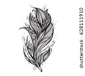 isolate feather icon vector... | Shutterstock .eps vector #628111910