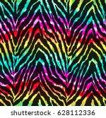 wild zebra print over rainbow... | Shutterstock . vector #628112336