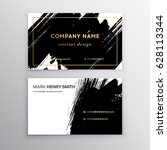 Set of Black and Gold Design Templates for Brochures, Flyers, Mobile Technologies and Online Services, Typographic Emblems, Logo, Banners and Infographic. Abstract Modern Backgrounds.Brush stroke | Shutterstock vector #628113344