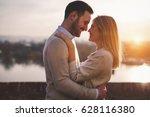 romantic couple in love kissing ... | Shutterstock . vector #628116380