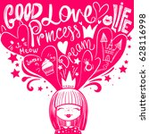 princess and dreams  hearts ... | Shutterstock .eps vector #628116998