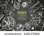 french cuisine top view frame.... | Shutterstock .eps vector #628125068
