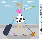 Fashion Woman With Dog And...