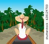back view of woman traveler...   Shutterstock .eps vector #628129703