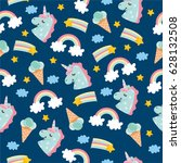 seamless pattern with cute... | Shutterstock .eps vector #628132508