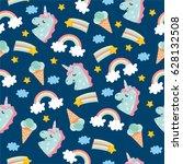 Stock vector seamless pattern with cute little unicorn ice cream clouds unicorn rainbow and stars amazing 628132508