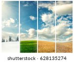 four seasons of year  winter ... | Shutterstock . vector #628135274