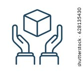 human hands holding cube vector ... | Shutterstock .eps vector #628135430
