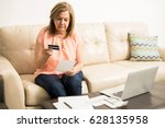 beautiful serious retired latin ... | Shutterstock . vector #628135958