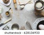 Top View Baking Scene On Grey...