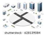isometric houses  town | Shutterstock . vector #628139084