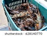 basket of fresh lobsters on a market