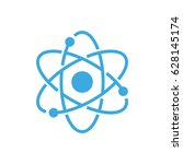 atom science vector icon   Shutterstock .eps vector #628145174