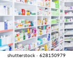 medicines arranged in shelves... | Shutterstock . vector #628150979
