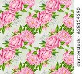 peony flowers seamless pattern... | Shutterstock . vector #628154390