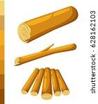 wooden logs brown bark of... | Shutterstock .eps vector #628162103