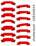 set of red cartoon ribbons and... | Shutterstock .eps vector #628164614