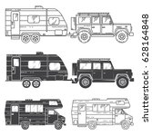 set of camper vans icons. thin... | Shutterstock .eps vector #628164848