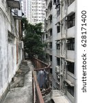 Small photo of Tree growing between buildings in Hong Kong. Narrow back ally.