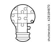 lightbulb made of puzzle pieces ... | Shutterstock .eps vector #628184870