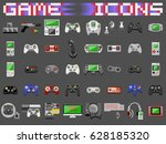 video game icons set. flat... | Shutterstock .eps vector #628185320