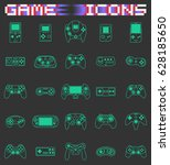 video game icons set. flat... | Shutterstock .eps vector #628185650