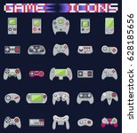 video game icons set. flat... | Shutterstock .eps vector #628185656