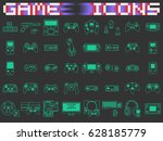 video game icons set. flat... | Shutterstock .eps vector #628185779