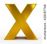 letter x 3d golden isolated on... | Shutterstock . vector #628187768