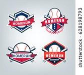 vector design set for baseball... | Shutterstock .eps vector #628198793