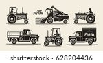 farm icons set. agricultural... | Shutterstock .eps vector #628204436