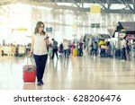 travelers smart asian woman... | Shutterstock . vector #628206476