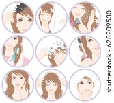 women who do hair care | Shutterstock .eps vector #628209530