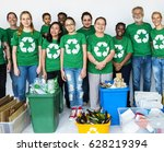 people with recycle trash cans...   Shutterstock . vector #628219394