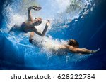 underwater shot of couple... | Shutterstock . vector #628222784
