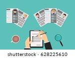 recruiter choosing resume for... | Shutterstock .eps vector #628225610