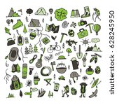 mountain tourism set  sketch... | Shutterstock .eps vector #628245950
