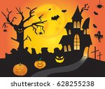halloween pumpkin head jack... | Shutterstock . vector #628255238