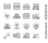 Treasure Chest Line Icon Set....