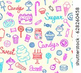 colorful ice cream icons set in ... | Shutterstock .eps vector #628260458