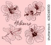 set of tropical hibiscus... | Shutterstock .eps vector #628268030