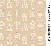 beach hut pattern  flat line... | Shutterstock .eps vector #628289453