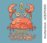 cartoon angry crab. funny... | Shutterstock .eps vector #628293404