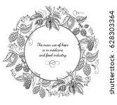 beer hop round wreath sketch... | Shutterstock .eps vector #628303364