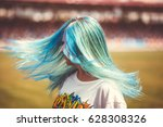 girl with blue hair | Shutterstock . vector #628308326