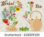 color vector card with cup ... | Shutterstock .eps vector #628309100