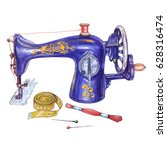 Sewing Set. Watercolor Blue...